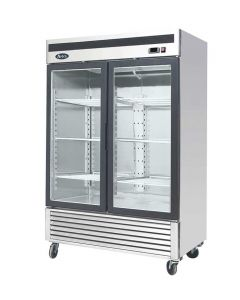 Atosa MCF8707GR Two Section Two Swing Door Refrigerator Merchandiser | 55"