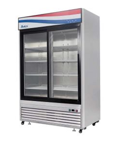 Atosa MCF8709GR Two Section Two Sliding Door Refrigerator Merchandiser | 55"