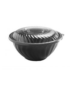 160 Oz. Prepserve Black Plastic Bowl