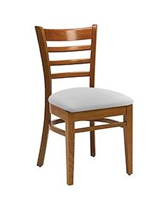 Ladderback Wood Restaurant Chair with Upholstered Seat