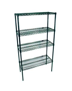 "Green Epoxy Wire Shelving Kit (36""W x 18""D x 74""H)"