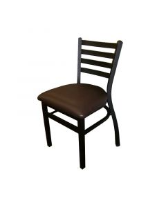 Outdoor Stackable Ladderback Dining Chair | Black Vinyl Seat