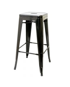 Gloss Black Stamped Steel Stackable Backless Barstool