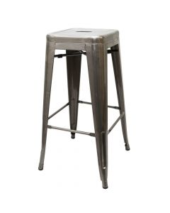 Clear Coat Stamped Steel Stackable Backless Barstool