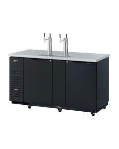 """69"""" Black 3 Keg Beer Dispenser 2 Dual Faucet Tap Kegerator Turbo Air TBD-3SBD-N"""