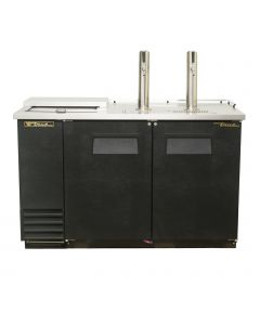 True TDD-2CT 2 Keg Club Top Beer Dispenser, 2 Taps, Black Vinyl sides and front with stainless steel surface and towers. Built tough by True.