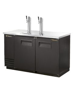 True TDD-2 2 Keg Kegerator Beer Dispenser, 2 Taps, Black Vinyl sides and front with stainless steel surface and towers. Built tough by True.
