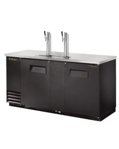 True TDD-3 3 Keg Kegerator Beer Dispenser, 2 Taps, Black Vinyl sides and front with stainless steel surface and towers. Built tough by True.