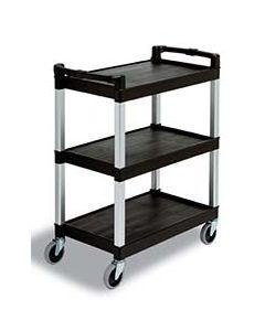 Cambro 3-Shelf Black Utility Bussing Cart