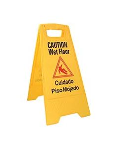 Caution Wet Floor Sign - Yellow, English & Spanish