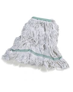 "Carlisle Looped-end Wet Mop Head, Medium, Green 1-1/4""W Polyester Band"