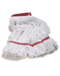 "Carlisle Looped-end Wet Mop Head, Large, Red 5""W Vinyl-Coated Band"