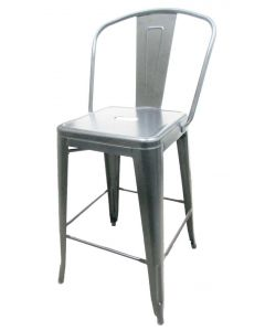 XL Brewhouse Barstool with Back, Silver