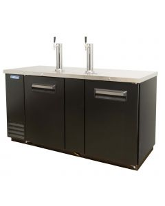 "69"" Black 3-Keg Beer Dispenser - Kegerator w/ 2 Tap Towers - Volition VDD69 | V-Series"