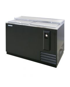 "50"" heavy duty horizontal deep well bottle cooler with two sliding, locking doors and black vinyl exterior"