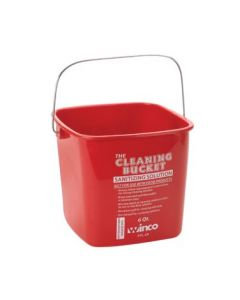 Winco Sanitizing Pail, 6 Qt Red