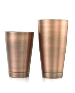 Barfly Bar Shaker Set | Full and Half Size Shakers | Antique Copper-Plated Finish