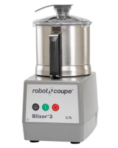 Robot Coupe Blixer 3 Food Processor with 3.5 Qt. Stainless Steel Bowl and Single Speed - 1 1/2 hp. See through clear lid with chute to add liquid and integrated scraper. Comes with serrated s blade.