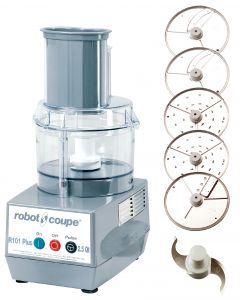 commercial food processor Robot Coupe R101 Plus combination cutter and vegetable slicer with 2.5 qt bowl.