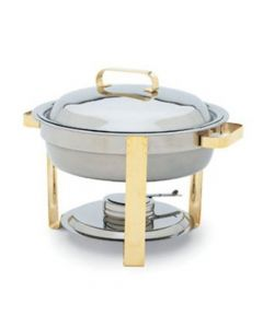 round commercial chafer with mirror finish and gold accents