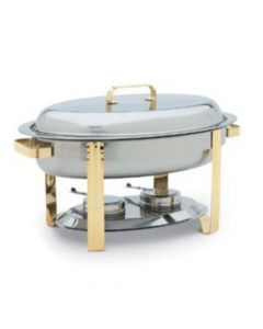 6 Qt. Oval Chafer with mirror finish and gold accents
