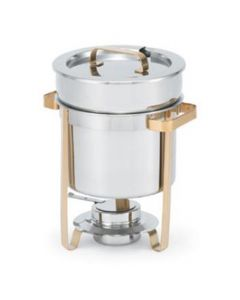 7 quart soup chafer warmer with mirror finish and gold accents