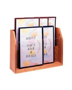 2 Pocket Wood Counter Rack for Menus or Newspapers