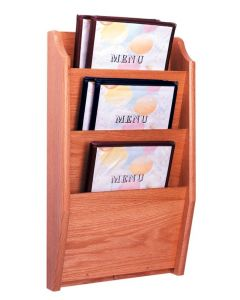 3 Pocket Wall Mount Wooden Menu Holder