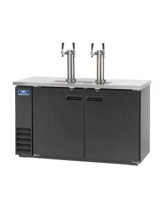 """61"""" Black 2 Door Beer Dispenser with 2 Tap Towers & 4 Faucets 