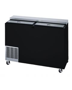 "Perlick 48"" deep well horizontal bottle & Can cooler with 2 sliding lids and black exterior to resist finger prints"