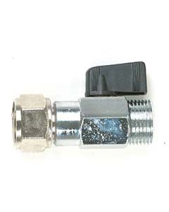 """Straight Beer Keg Coupler Elbow with Shut-Off Valve, 3/8"""" Bore"""