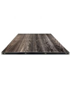 "Fortress Steel Edge Square Black Charred Darkwash Tabletop, 24"" x 24"""